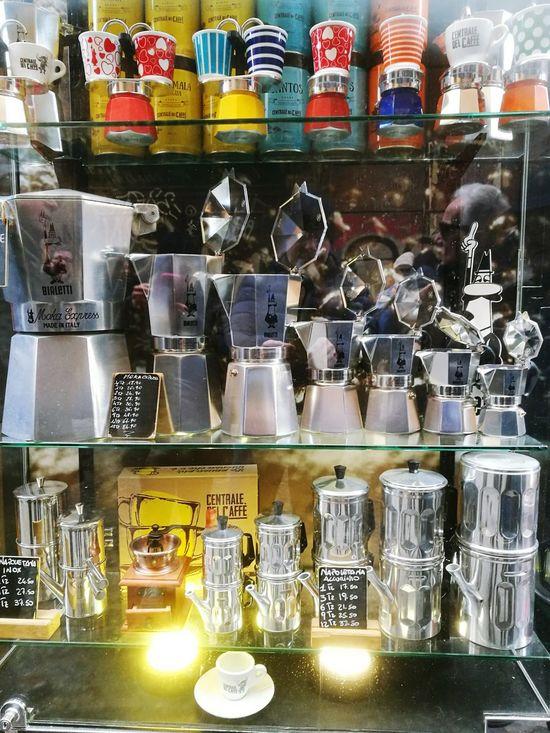 coffee machine Coffee ☕ Mokapot Mokka Mokacoffee Mokaexpress Caffè Caffetteria Caffetteria choice No People Naples Italy Shopwindow