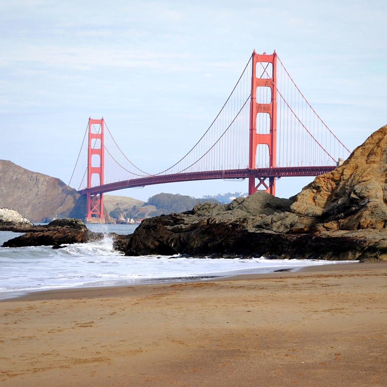 Bakers Beach am Morgen Water No People Seaside Bridge Seeing The Sights See The World Through My Eyes Orange Red Traveling Urban San Francisco Golden Gate Bridge