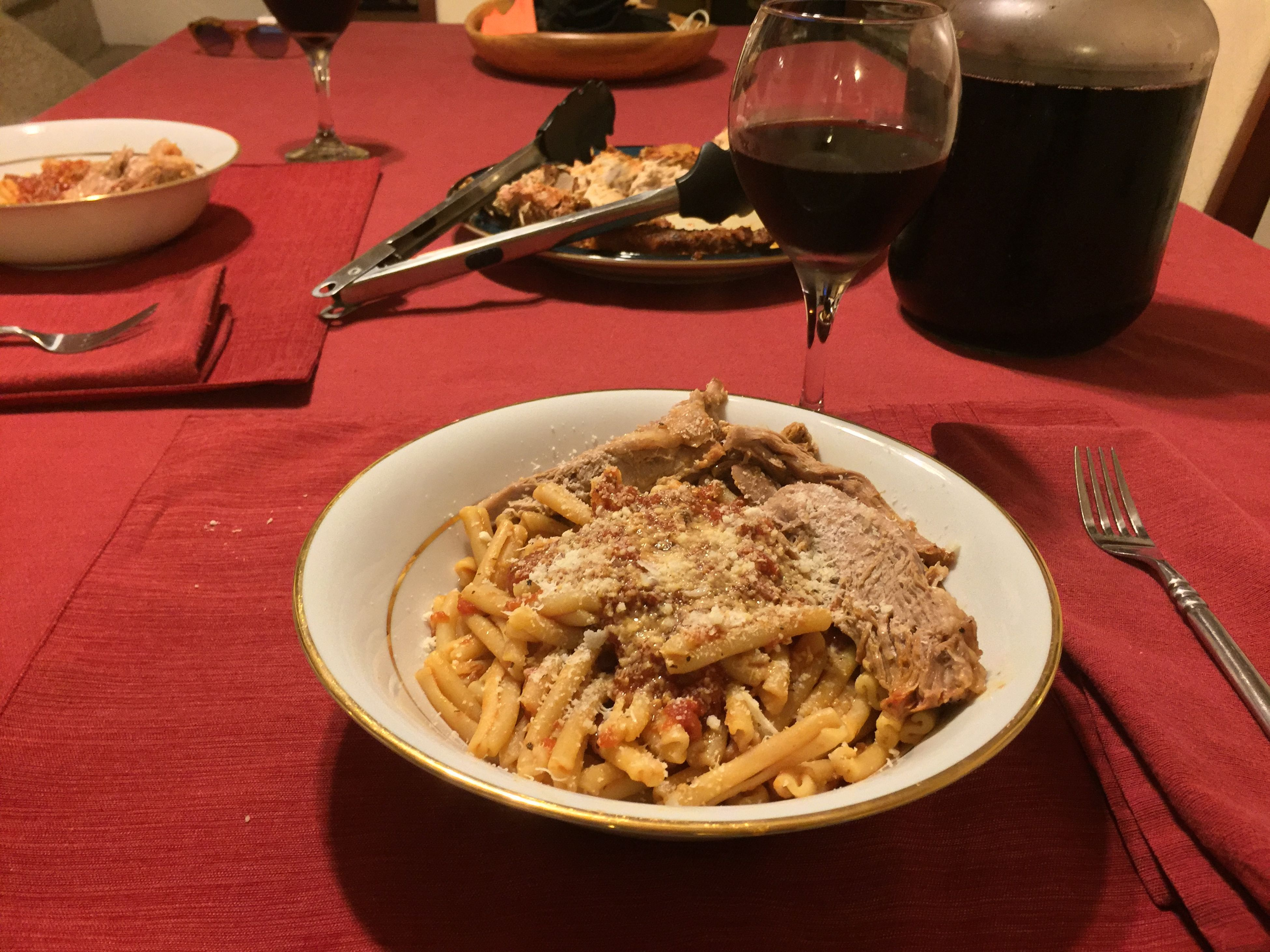 Tonight I made casarecce pasta with a pork roast. Served with my homemade 2014 Italian Barolo wine. ICanCookMyAssOff ItsAnItalianThing Gravy Pasta HomemadeItalianWine Nomnombomb Food Porn Awards MyFoodPics Food Porn