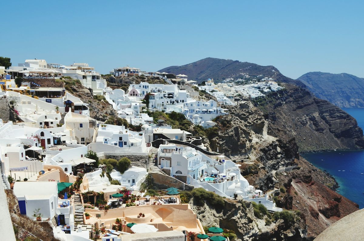 Greece Travel City Town Clear Sky Cityscape Outdoors Day No People Built Structure Blue Sky Roof Religion And Tradition White Wall White And Blue Colour Architecture Building Exterior Santorini, Greece Santorini Island