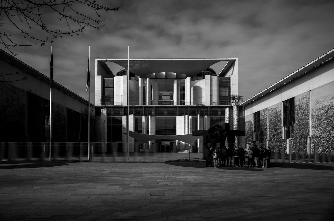 Bundeskanzleramt, just in case you are wondering, it isFederal Chancellery, which is quite cool piece of architectureby itself. Architecture Light And Shadow Maxgor Germany Leica X Vario Maxgor.com Monochrome Photography Black And White Berlin Cıty Lights And Shadows Black And White Photography Built Structure Outdoors Modern Building Exterior Sky Metal Industry