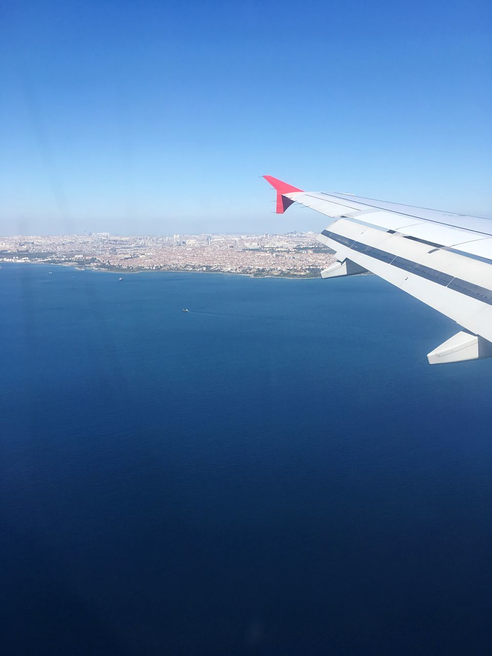 airplane, transportation, journey, aerial view, airplane wing, flying, travel, no people, blue, nature, mode of transport, aircraft wing, day, air vehicle, sky, outdoors, beauty in nature, scenics, water