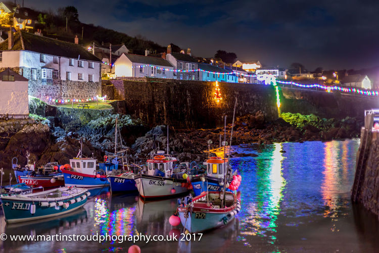 Christmas on the Cornish Coast Architecture Building Exterior Built Structure City Cornwall Coverack Harbour Illuminated Mode Of Transport Moored Nature Nautical Vessel Night No People Outdoors River Sky Transportation Tree Water Waterfront