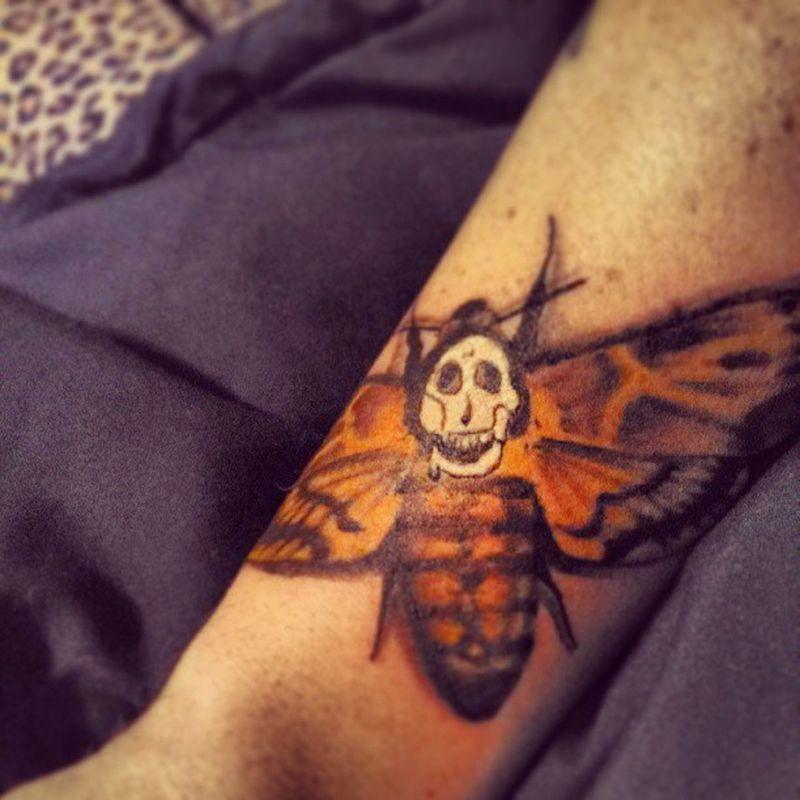 newest ink! Silenceofthelambs Clarice Morbid Moth tatted tattoo ink inked guy sleeve death horror eyecandy