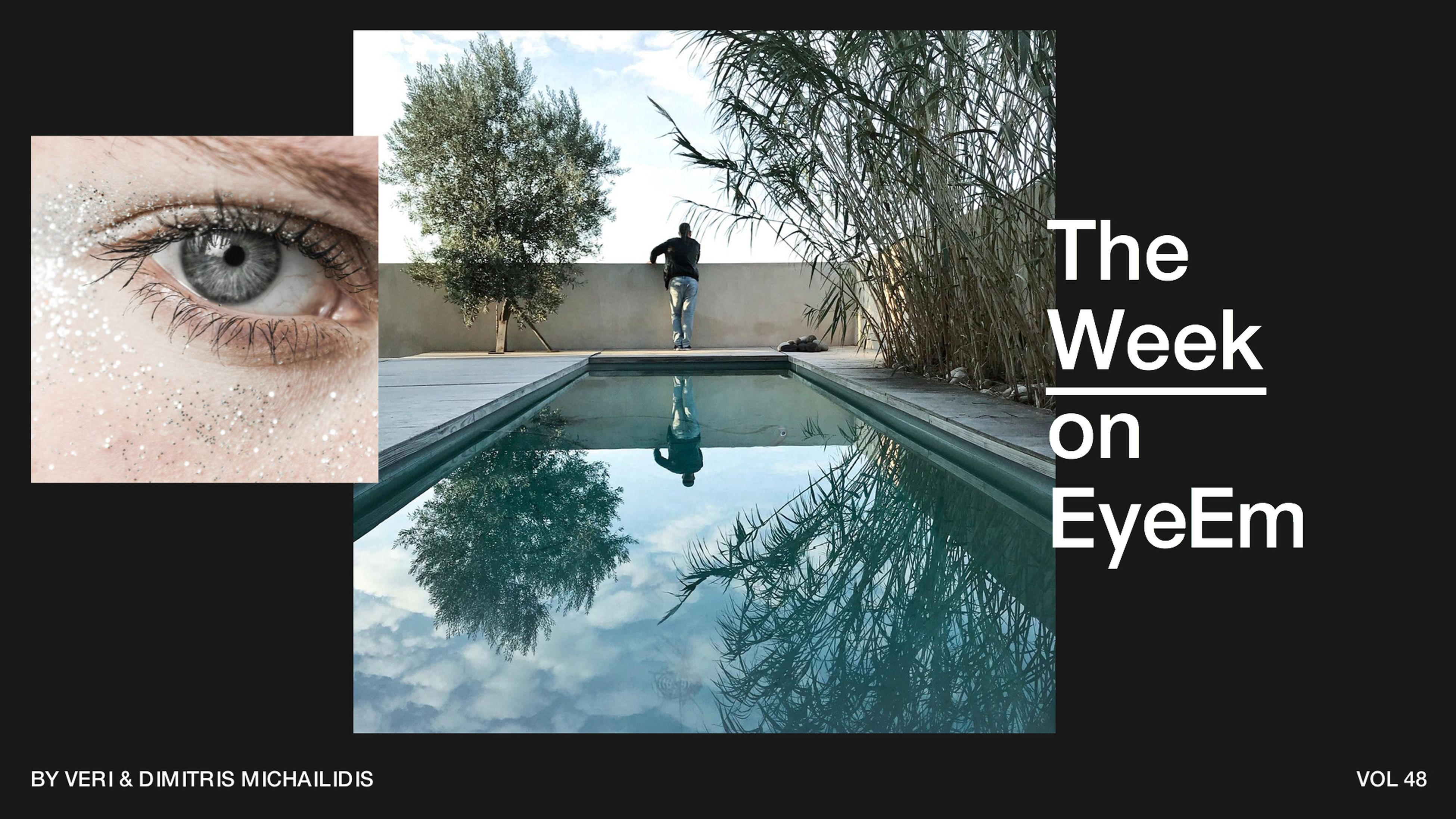 tree, water, swimming pool, day, outdoors, one person, human eye, sky, people