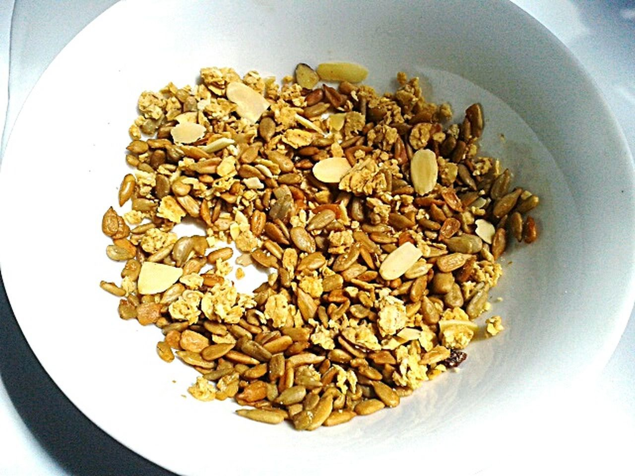 food and drink, bowl, healthy eating, food, no people, breakfast, oats - food, directly above, indoors, close-up, nut - food, granola, oat flake, pumpkin seed, freshness, white background, day