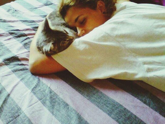 Love Girl Beautiful Girl Girlfriend Cat Cats Kitten Bed Love Chilling Enjoying Life Relaxing Green Sleeping Sleepy