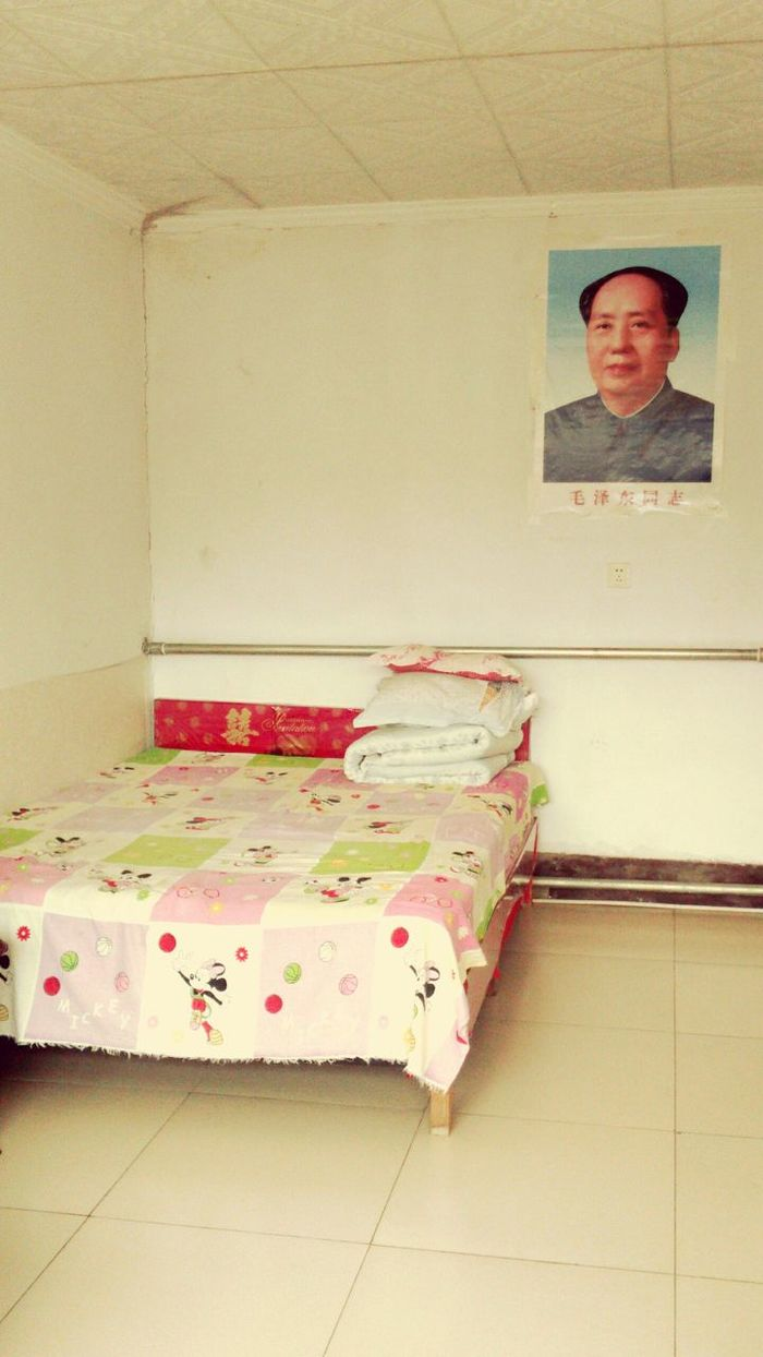 Sleep well Beijing China ASIA Bedroom Indoors  No People Paramount  Leader Chief President Mao Ze Dong Poster Picture Retro Vintage Bedding Sheets Pink White Mandarin Empty Sleep Well Austere Portrait Communist