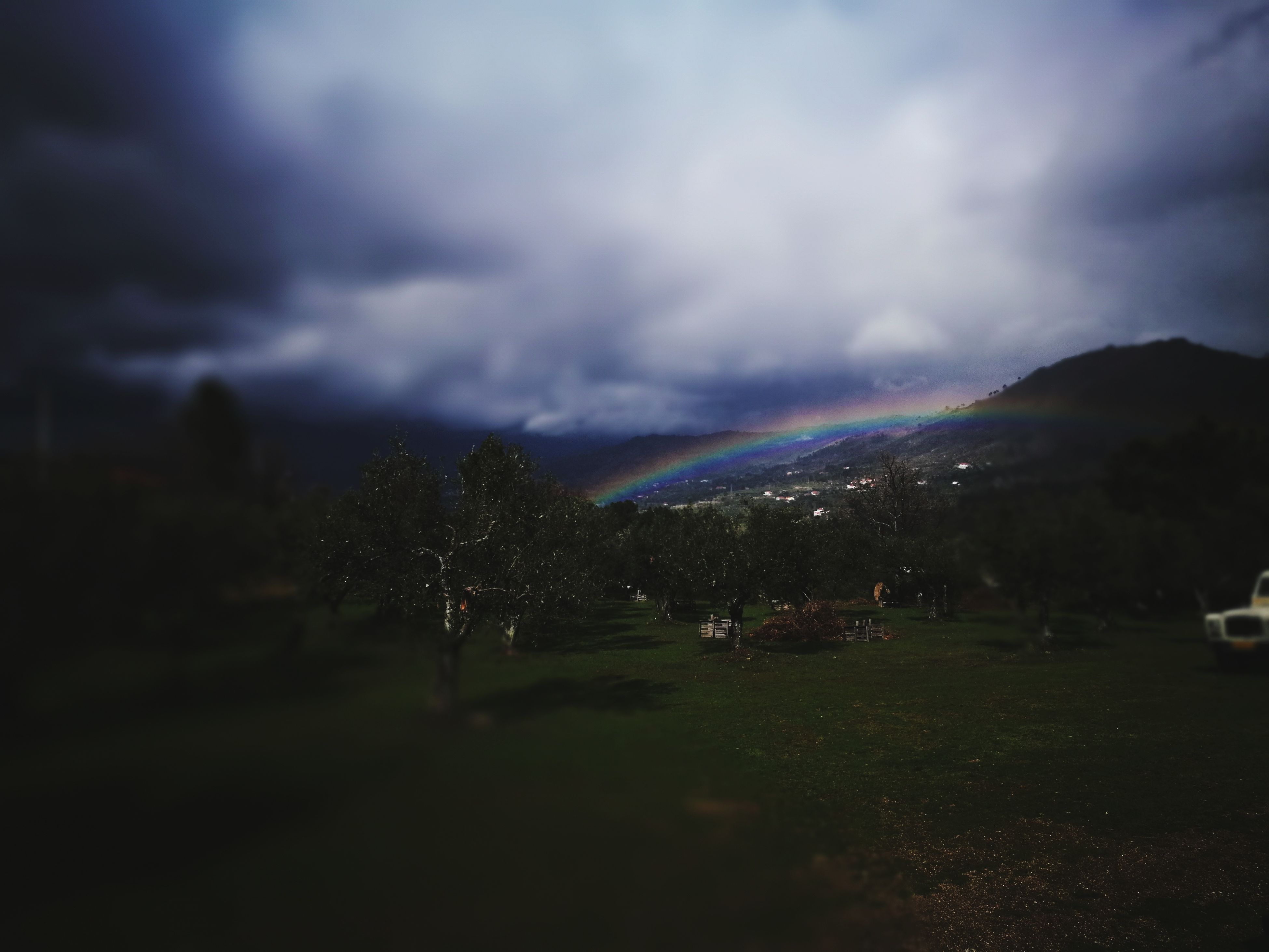 sky, multi colored, nature, cloud - sky, grass, beauty in nature, landscape, outdoors, scenics, day, no people, double rainbow