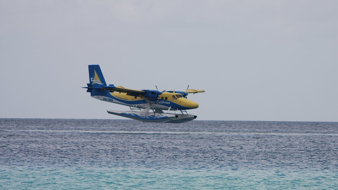 water airplane landing on blue sea, maldives Adventure Air Vehicle Airplane Beauty In Nature Colors Flying Holiday Horizon Over Water Journey Landing Maldives Mode Of Transport Nature Ocean Outdoors Scenics Sea Sky Transportation Travel Water Waterfront Let's Go. Together.