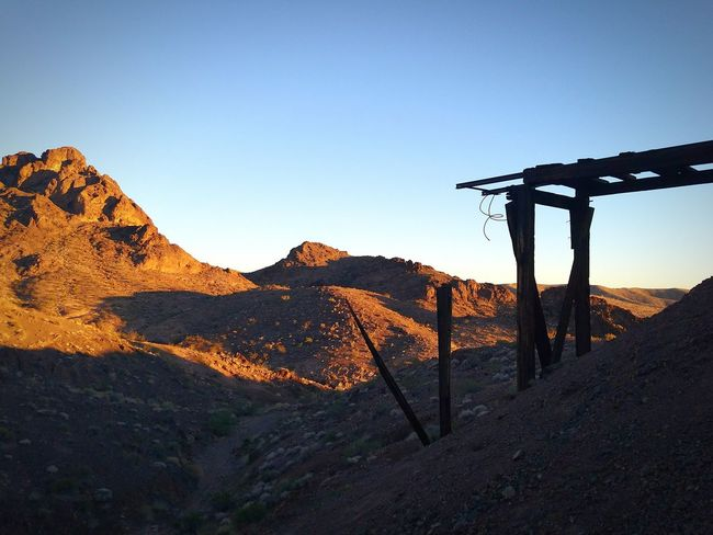 Arizona Desert Historical Site History Kingman Wash Mine Sunset Arizona Desert Landscape Cable Car Tracks