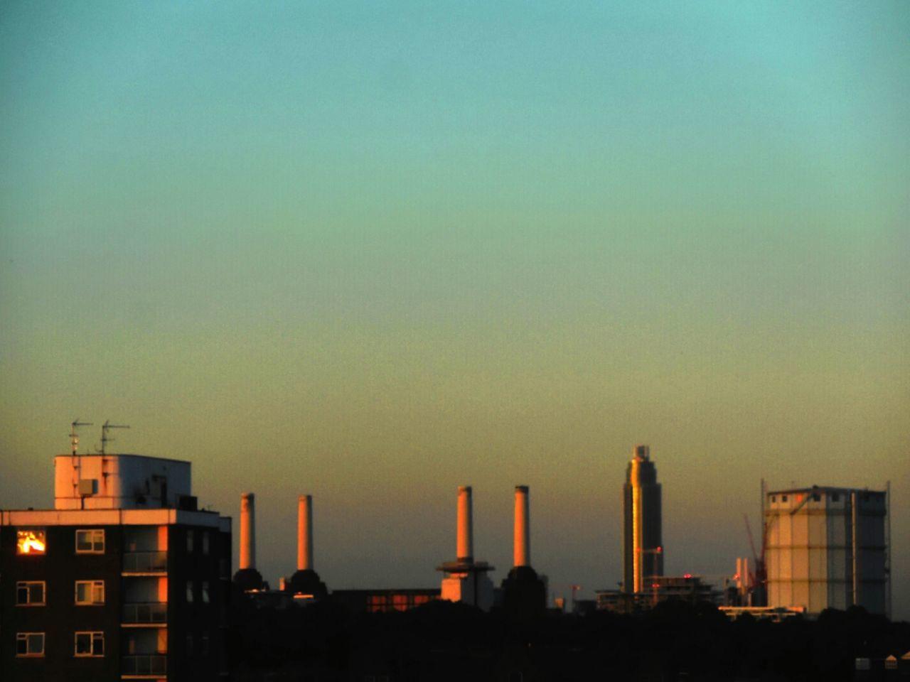 Battersea Power Station at sunset last night.