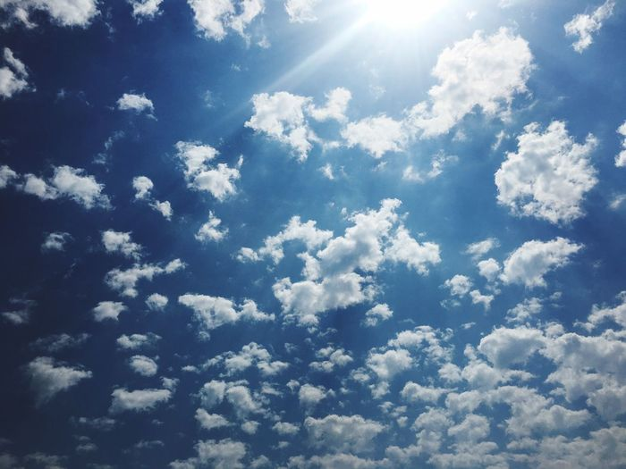 Cloud Sky Nature Beauty In Nature Sunbeam Backgrounds Full Frame Scenics Tranquility Cloud - Sky Vibrant Color Sun Blue Day Sunlight Low Angle View No People Sky Only Outdoors First Eyeem Photo