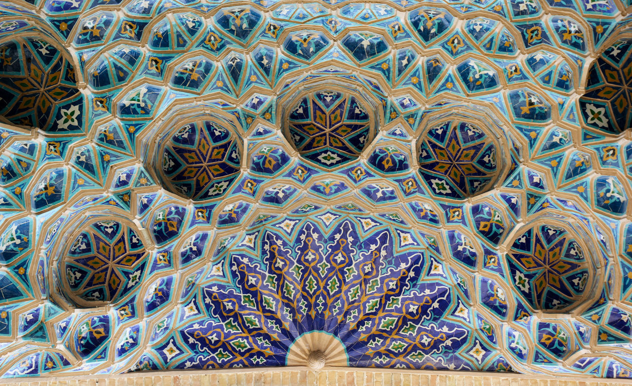 Architecture Blue Color Ceiling Close-up Day Details Full Frame Indoors  Islamic Architecture Islamic Art Islamic Geometry Looking Up Mausoleum Multi Colored No People Pattern Samarkand Samarqand Silk Road Tile Uzbekistan