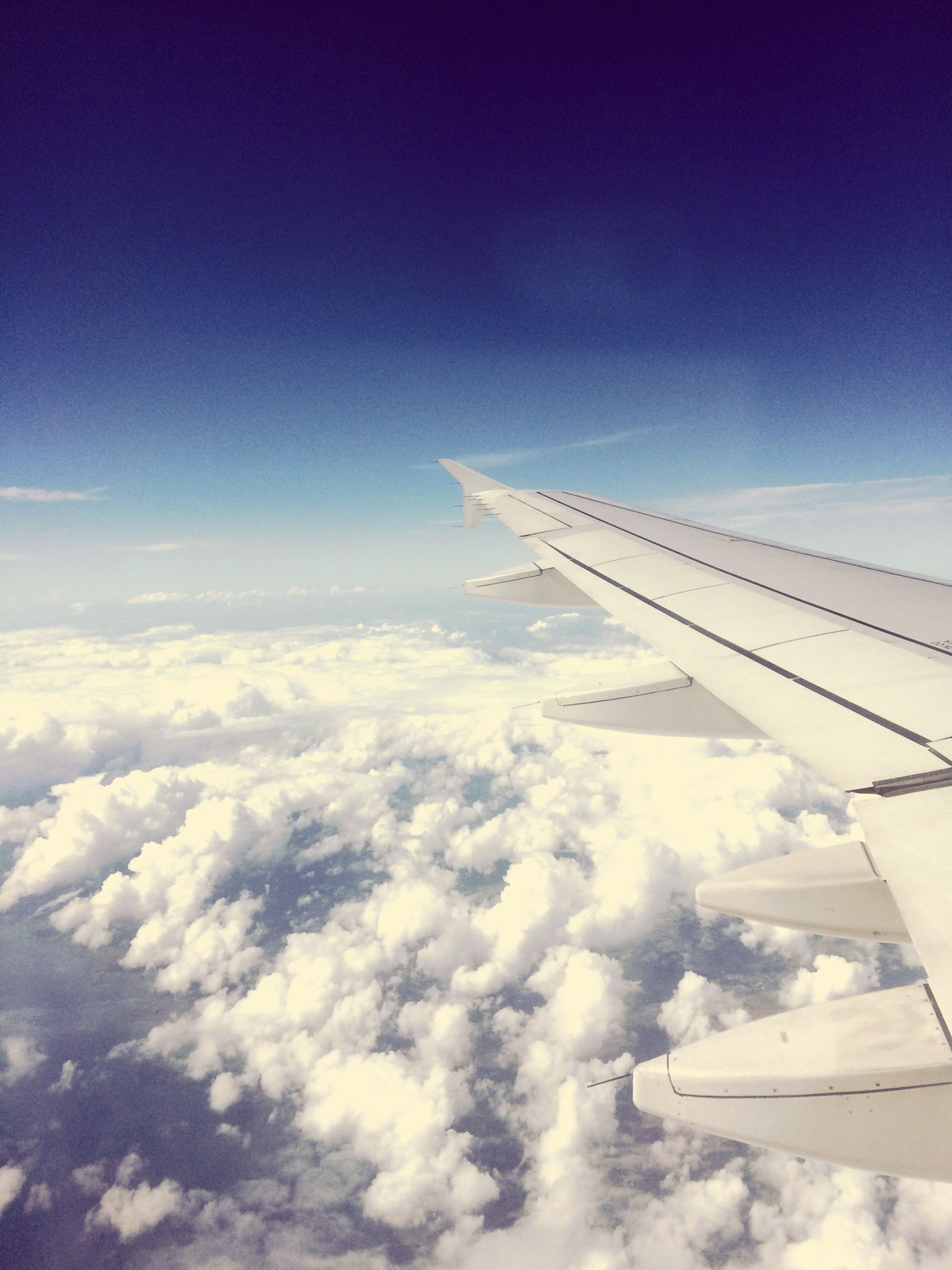 airplane, flying, air vehicle, aircraft wing, transportation, mode of transport, sky, part of, mid-air, aerial view, blue, cropped, cloud - sky, on the move, airplane wing, travel, journey, public transportation, scenics, cloud
