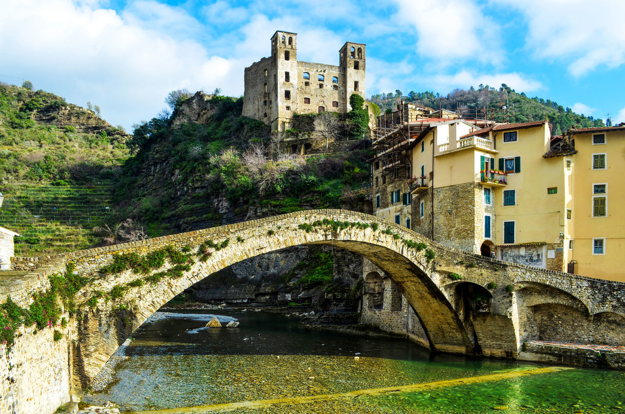 Architecture Bridge Building Exterior Built Structure Castello Doria Castle Day Dolceacqua History Italia Italy Liguria Medieval Bridge Outdoors River Riviera Di Ponente Travel Destinations Water