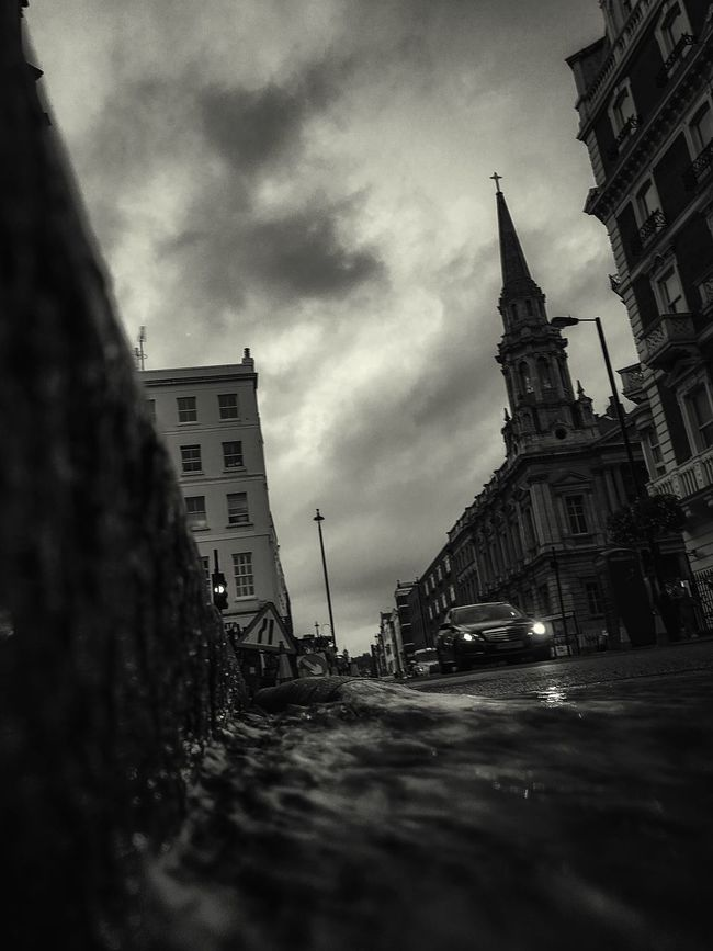 London From The Gutter Headlights Church Running Water Fresh On Eyeem  EyeEm Best Shots - The Streets Eyeemphotography Atmospheric Clouds Fine Art Photography Architecture Black And White Fine Art The Week Of Eyeem Buildings & Sky Street Photography Urban EyeEm Best Shots - Black + White EyeEmBestPics Re Edited Urban Exploration EyeEm Best Shots