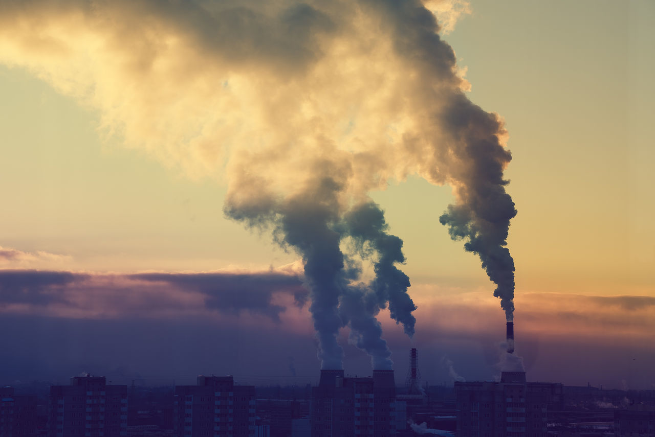 Air Pollution Building City Cityscape Clouds Industrial Industry Morning No People Outdoors Saint Petersburg Sky Smoke Sun Urban Skyline