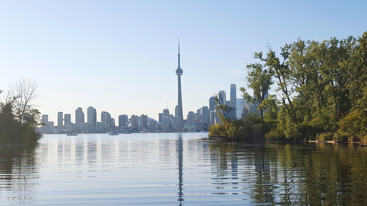 Toronto island, Canada. Toronto Torontoisland CN Tower Nature Photography No People Outdoors Tree Water Travel Destinations Sky Island Weekend Relax Cityscape Day Skyscraper カナダ トロント トロントアイランド 湖 景色 週末 City Business Finance And Industry Urban Skyline 2016.09.02 EyeEmNewHere