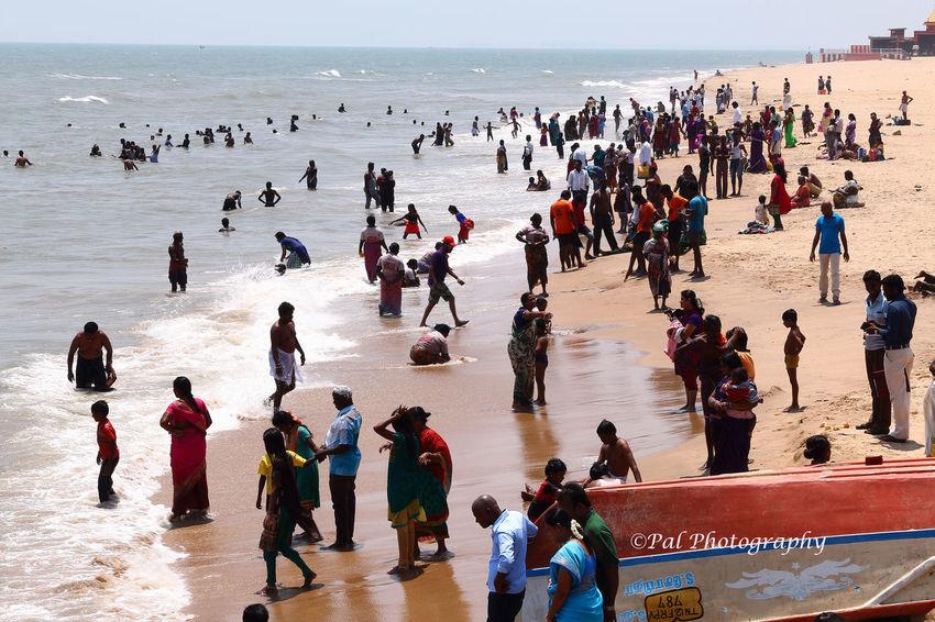 Tiruchendur Beach Beach Photography Chennai Horizon Over Water Large Group Of People Ocean Paulvadivu Tamilnadu, India Templle Town Tiruchendur Travel Destinations