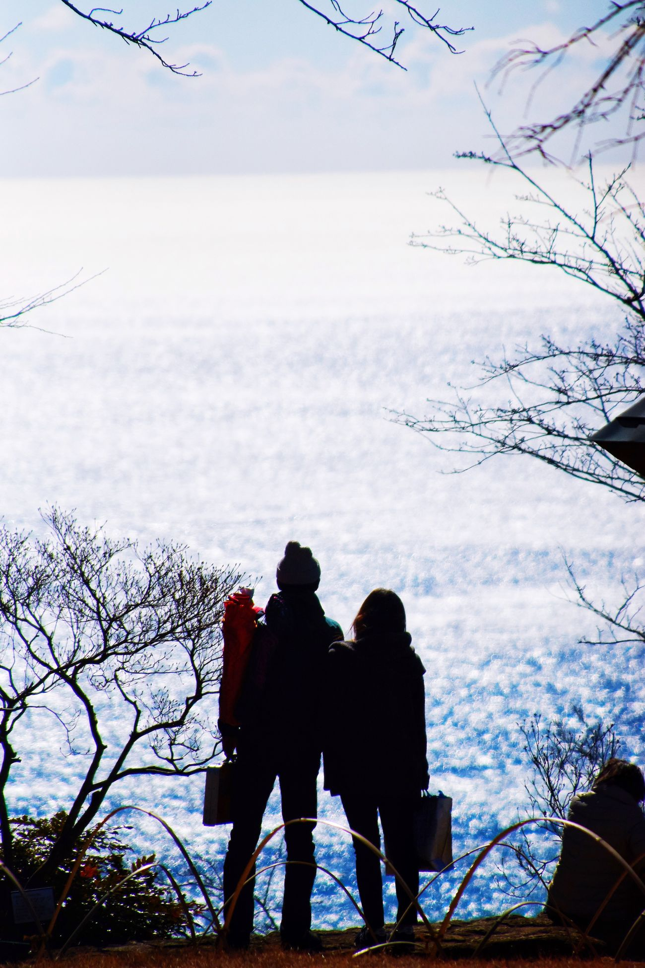 Two People Winter Cold Temperature Snow Sky Nature Real People Weather Tree Togetherness Beauty In Nature Lifestyles Rear View Leisure Activity Bare Tree Warm Clothing Bonding Outdoors Scenics Day Silhouette EyeEm Best Shots Eye4photography  Sea EyeEm Gallery