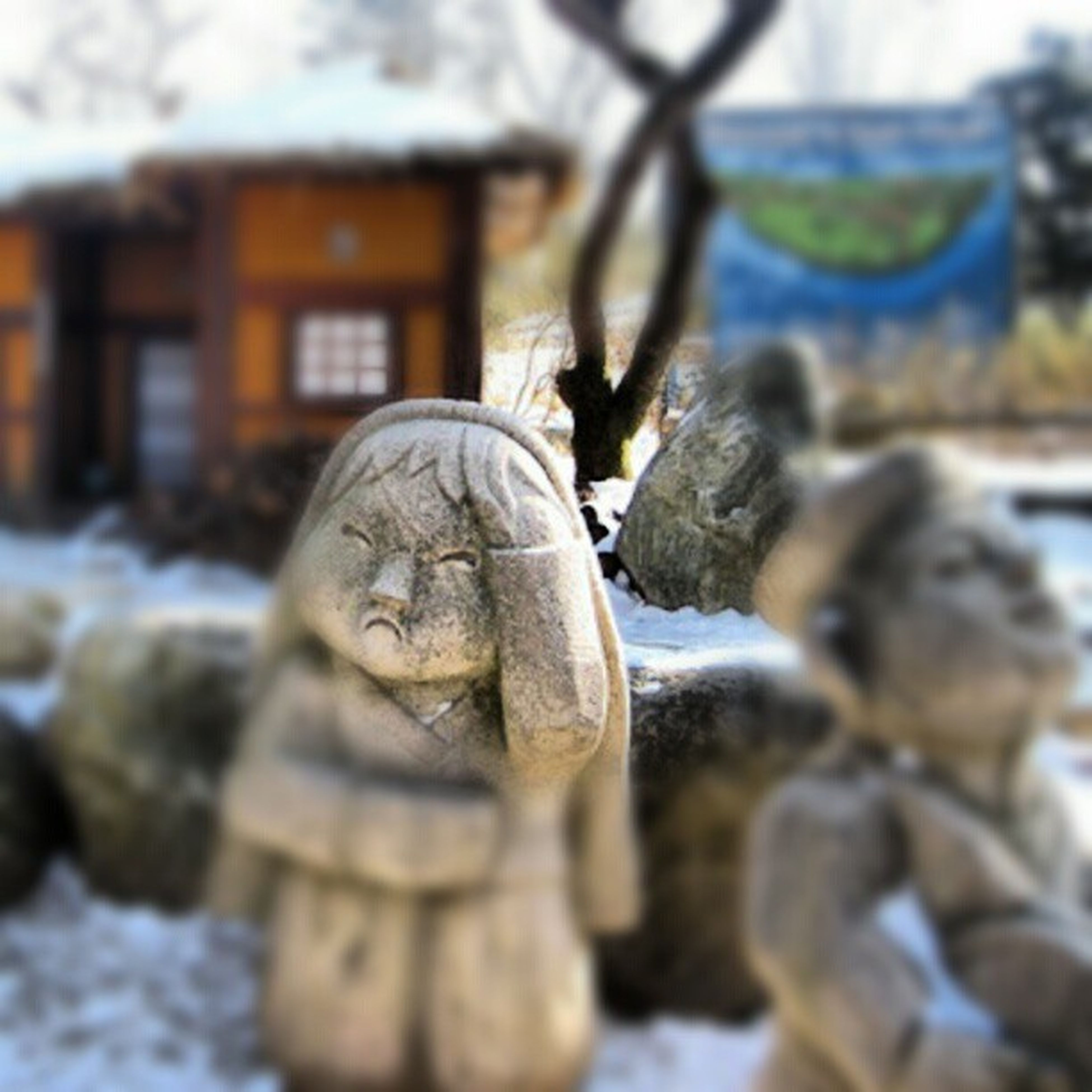 focus on foreground, statue, human representation, art and craft, sculpture, close-up, art, creativity, selective focus, tree, day, outdoors, cold temperature, snow, carving - craft product, religion, stone material, winter, nature