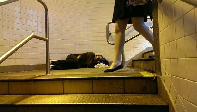 """Like Nobody Cares"" Sleeping Public Transportation Commuting Homeless"