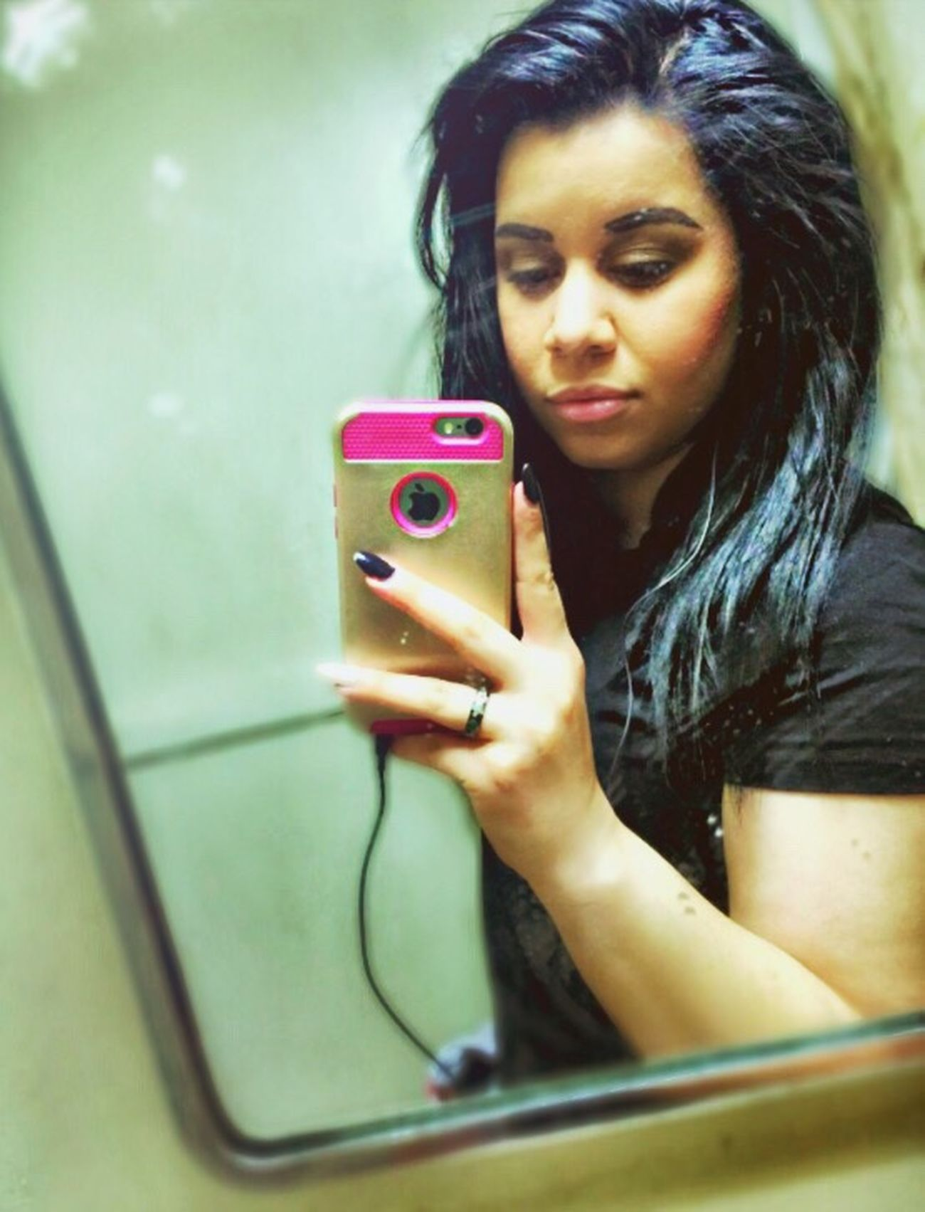 LetDownYourHair Lionhair Photo Mirrorpic Selfie Black Hair Iphone6 Flick  Me Bathroom Pic