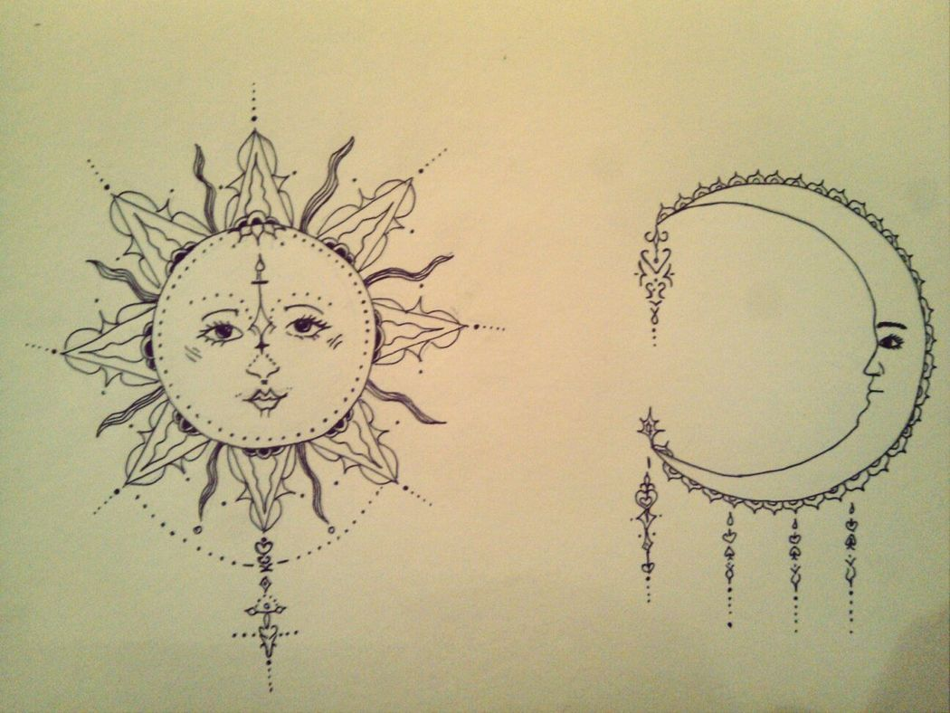Drawing Sun And Moon Pencil Drawing Free Time