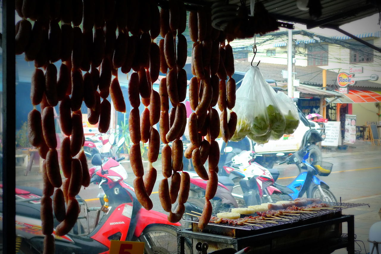 For Sale Market Stall Sausage Hanging Street Food Travel Photography Local Life Thai Culture After Rain Koh Samui Vivid Local Delicacies Yummylicious Pork Sausage