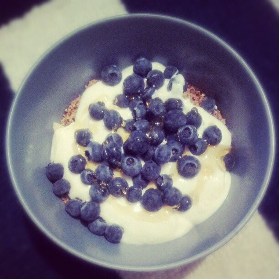 Movies night snack. Ezekielwholegrain Blueberry Greekyogurt Rawhoney healthy snack eatclean newbody resolution fitness