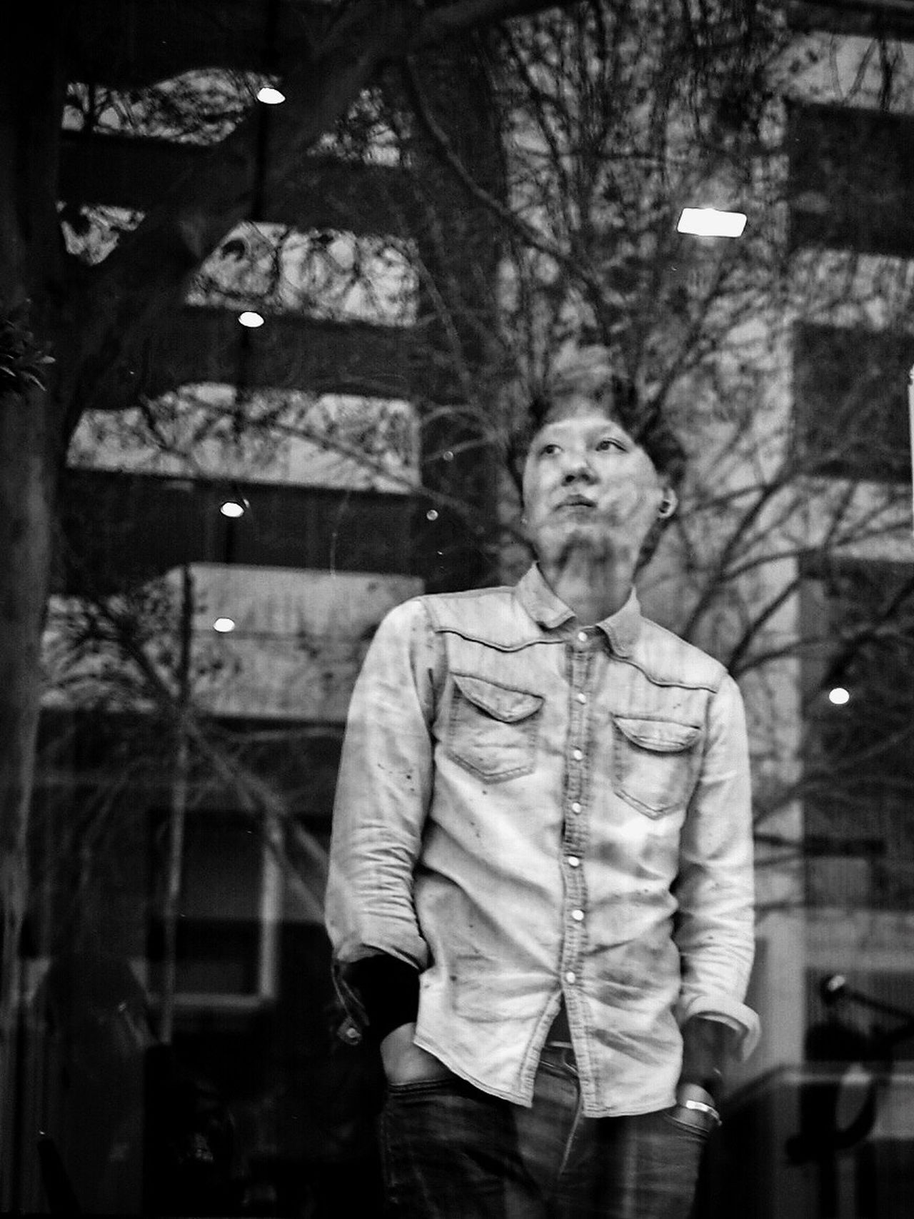 Ataraxy // Melbourne One Person One Man Only Hands In Pockets Front View Only Men Real People Men Looking At Camera Portrait Lifestyles Adult Tree Young Adult Outdoors Well-dressed Businessman Standing Corporate Business Adults Only People Streetphotography Blackandwhite Tree Reflection The Street Photographer - 2017 EyeEm Awards