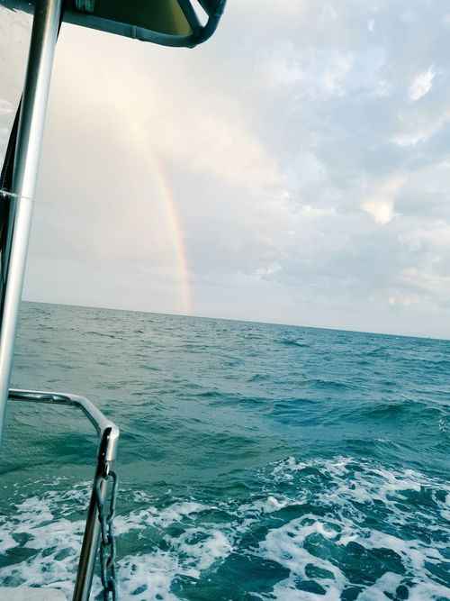Rainbow Sea Cloud - Sky Beauty In Nature No People Water Boats And Sea Sommergefühle Summer 100 Days Of Summer Storm Tranquility Horizon Over Water Boat Life Boat Trip Sommergefühle Let's Go. Together. EyeEm Selects
