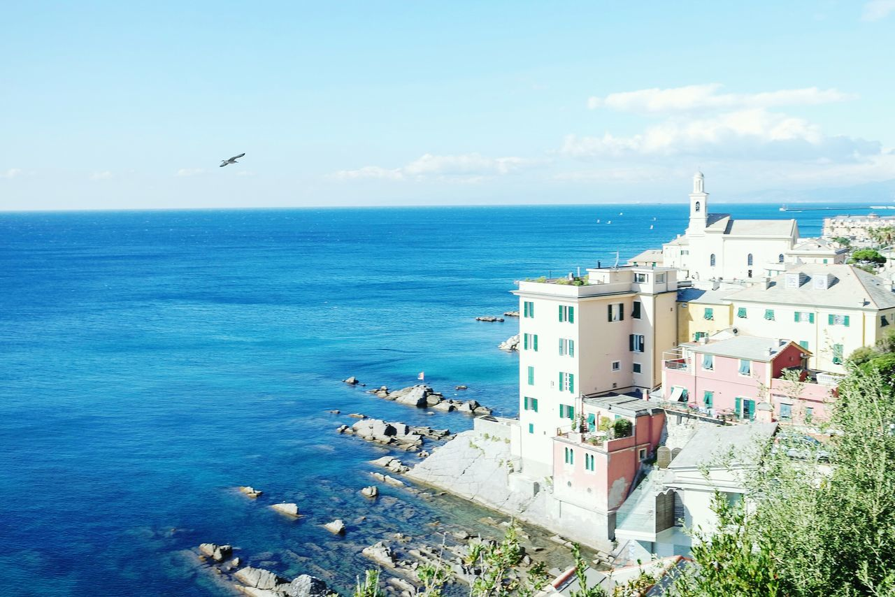 My city, Genoa, Italy Sea Horizon Over Water Blue Bird Sky Architecture Travel Destinations Beach Outdoors Building Exterior Time No People Day Water Clock Face EyeEm Best Shots Fresh 3 Eye4photography  Open Edit Beauty In Nature Tranquil Scene Landscape_Collection Landscape_photography