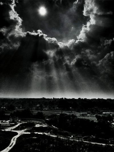 Dramatic Sky Sunbeams Blackandwhite Night Cloud - Sky Nature Sky Outdoors Scenics Landscape No People Beauty In Nature