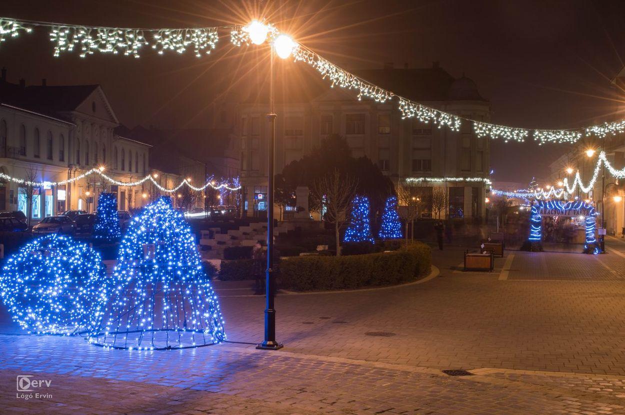 Xmas lights in Baja, Hungary Blue Christmas Christmas Lights Chritmastree Lights Night Xmas Xmas Decorations