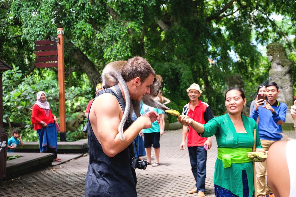 Backpacking Bananas Bonding Casual Clothing Enjoyment Fun Happiness MonkeyForest Smiling Togetherness Travel Ubud, Bali Wanderlust