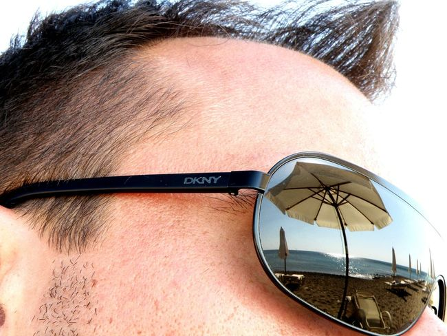 Experimental Me:) Sunglasses Reflection Beach Umbrellas Sea View