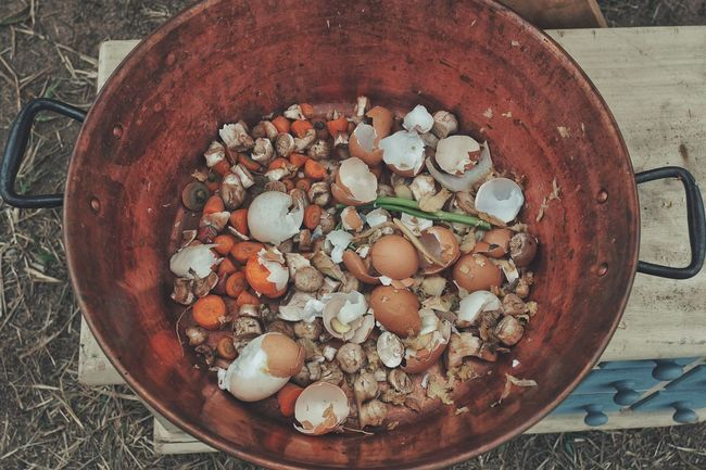 cooking scraps. High Angle View Food And Drink Bowl Food Outdoors Freshness Cooking Compost Healthy Eating Healthy Lifestyle Close-up Scraps Food Food Preparation Eggshell