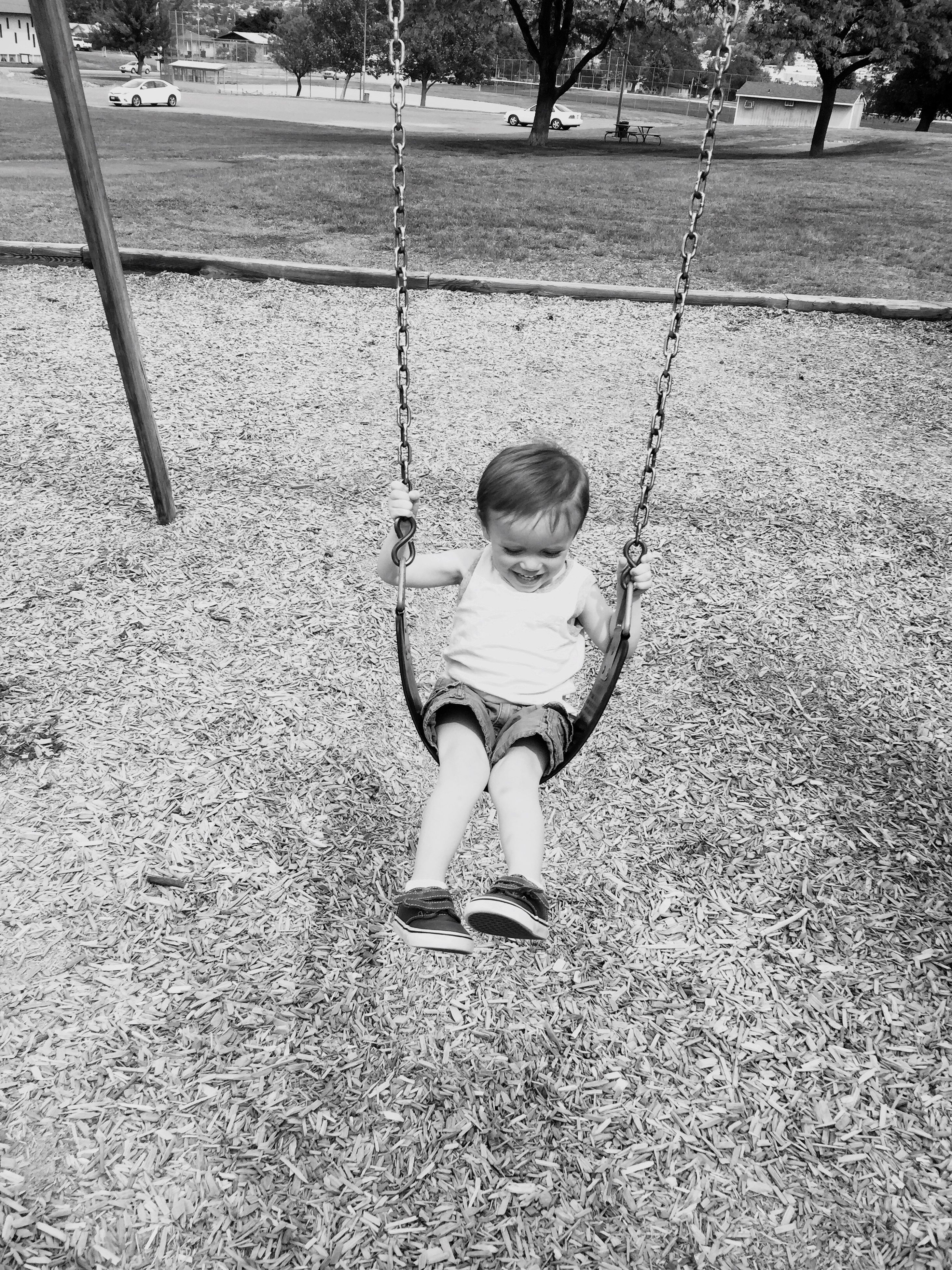 childhood, full length, elementary age, lifestyles, person, casual clothing, boys, girls, leisure activity, innocence, cute, high angle view, street, portrait, looking at camera, playing, park - man made space, front view