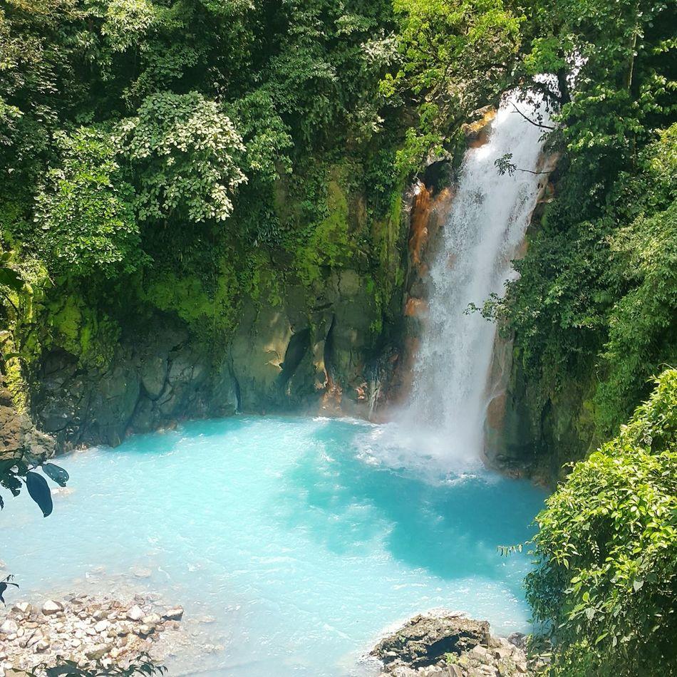 Costa Rica Rio Celeste Waterfall Outdoors Sky-blue Nature