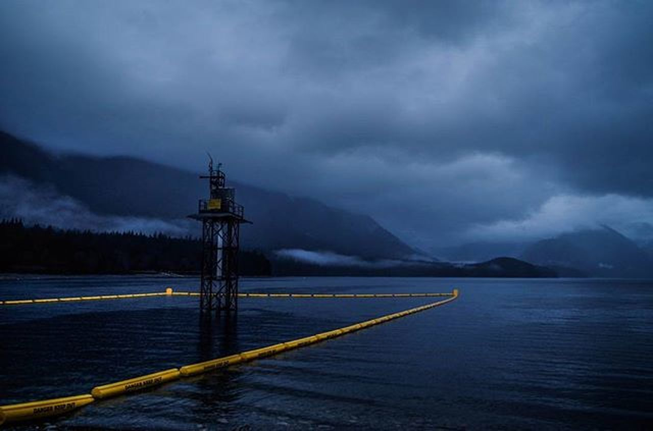 cloud - sky, weather, mountain, nature, no people, outdoors, water, storm cloud, sky, thunderstorm, night, oil pump