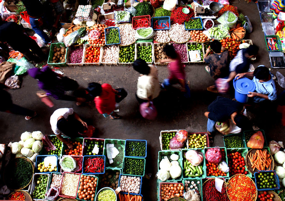 Multi Color of Traditional Market Jakarta Indonesia Abundance Agriculture Arrangement Busy Choice Collection Day Food Food And Drink For Sale Freshness High Angle View Jakarta Large Group Of Objects Market Market Stall Motion Blur Multi Colored Outdoors People Retail  Traditional Traditional Market Variation Vegetable