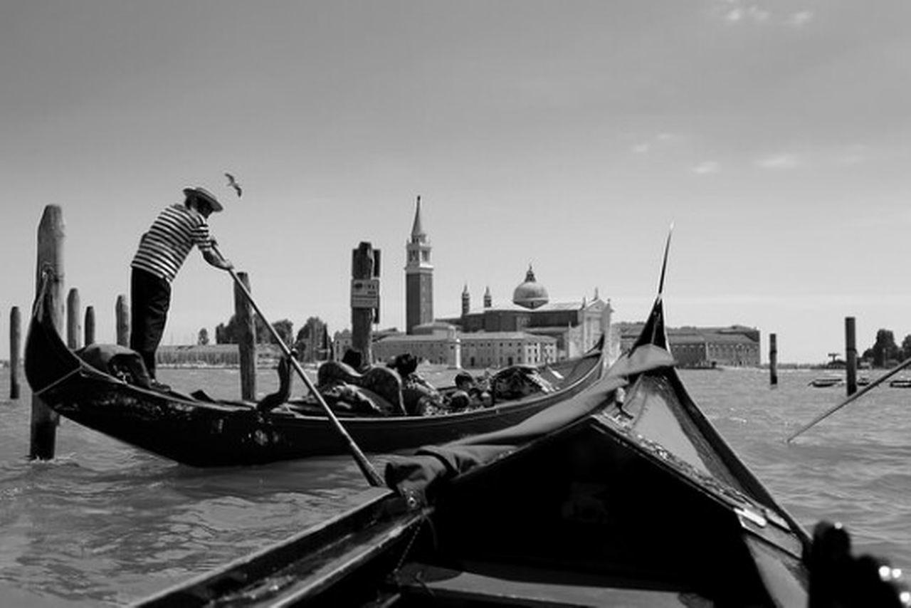 Venice Gondola Italy Europe Piazza San Marco Venezia Italia Black & White