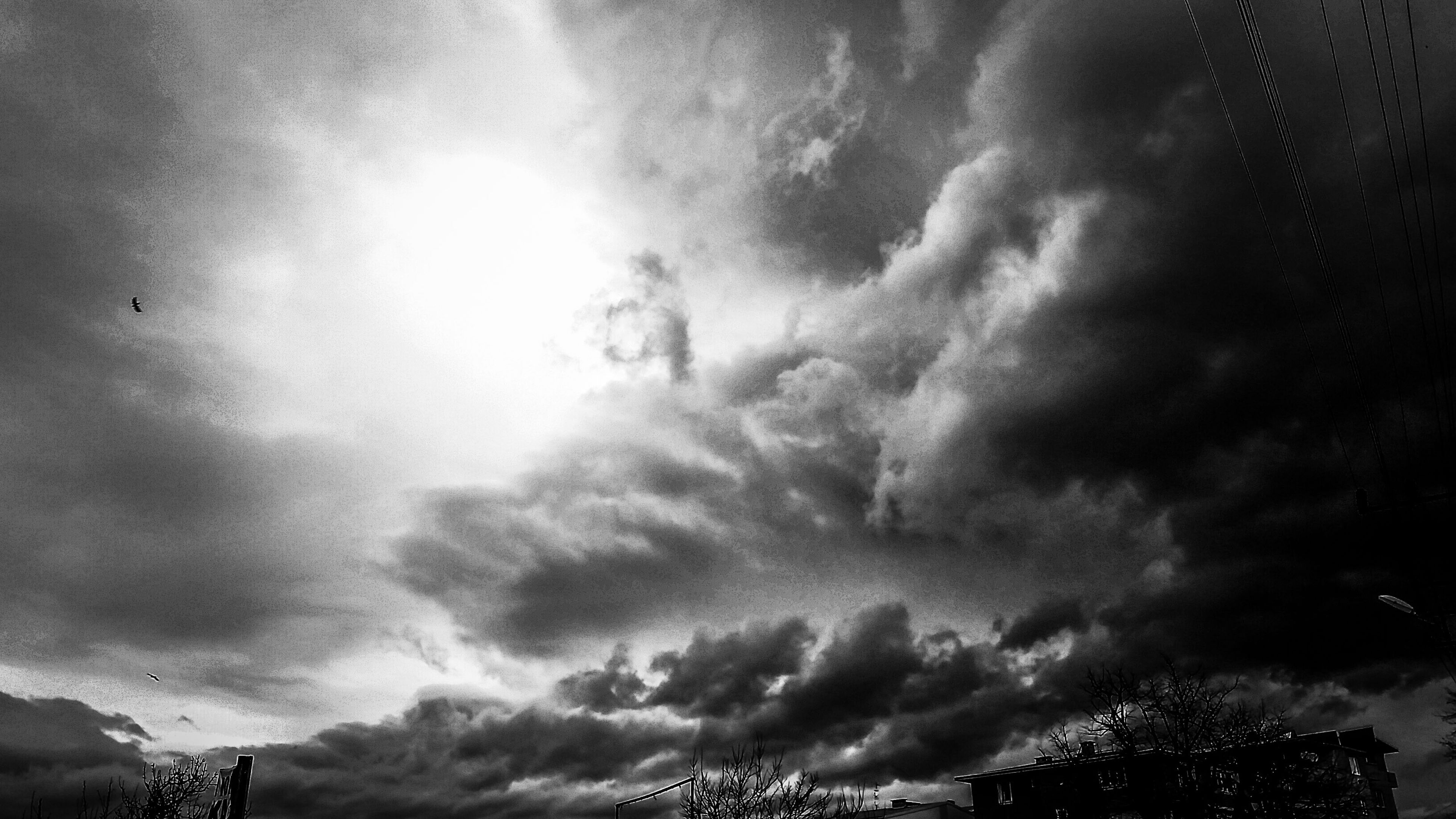low angle view, sky, cloud - sky, cloudy, silhouette, beauty in nature, nature, weather, tree, scenics, tranquility, overcast, cloud, high section, tranquil scene, storm cloud, cloudscape, outdoors, no people, dramatic sky