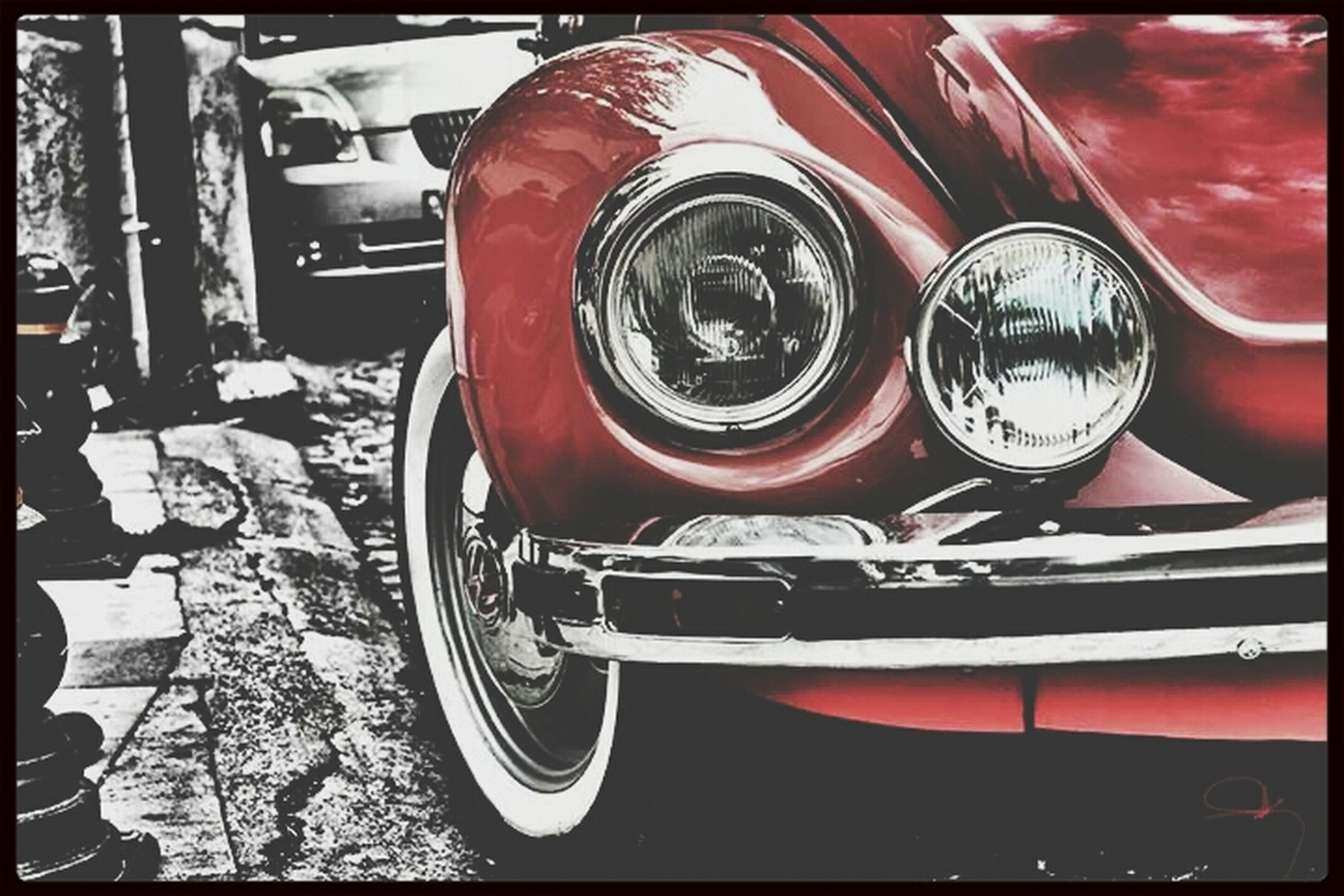 transfer print, auto post production filter, transportation, red, mode of transport, land vehicle, car, retro styled, old-fashioned, no people, day, close-up, wheel, stationary, vintage, indoors, reflection, vintage car, metal