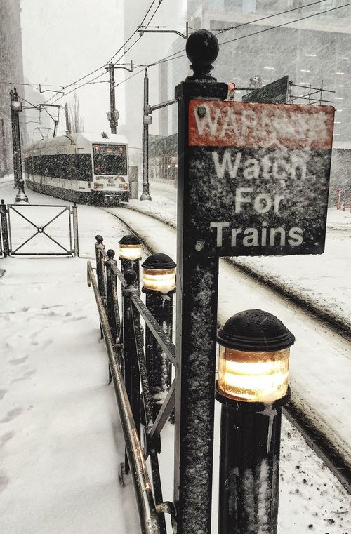 Winter Cold Temperature Built Structure Building Exterior Architecture Outdoors Snow Transportation Day No People City EyeEmNewHere Lightrail Trolley Train Train Station Platform Snow ❄ Snowy Commute