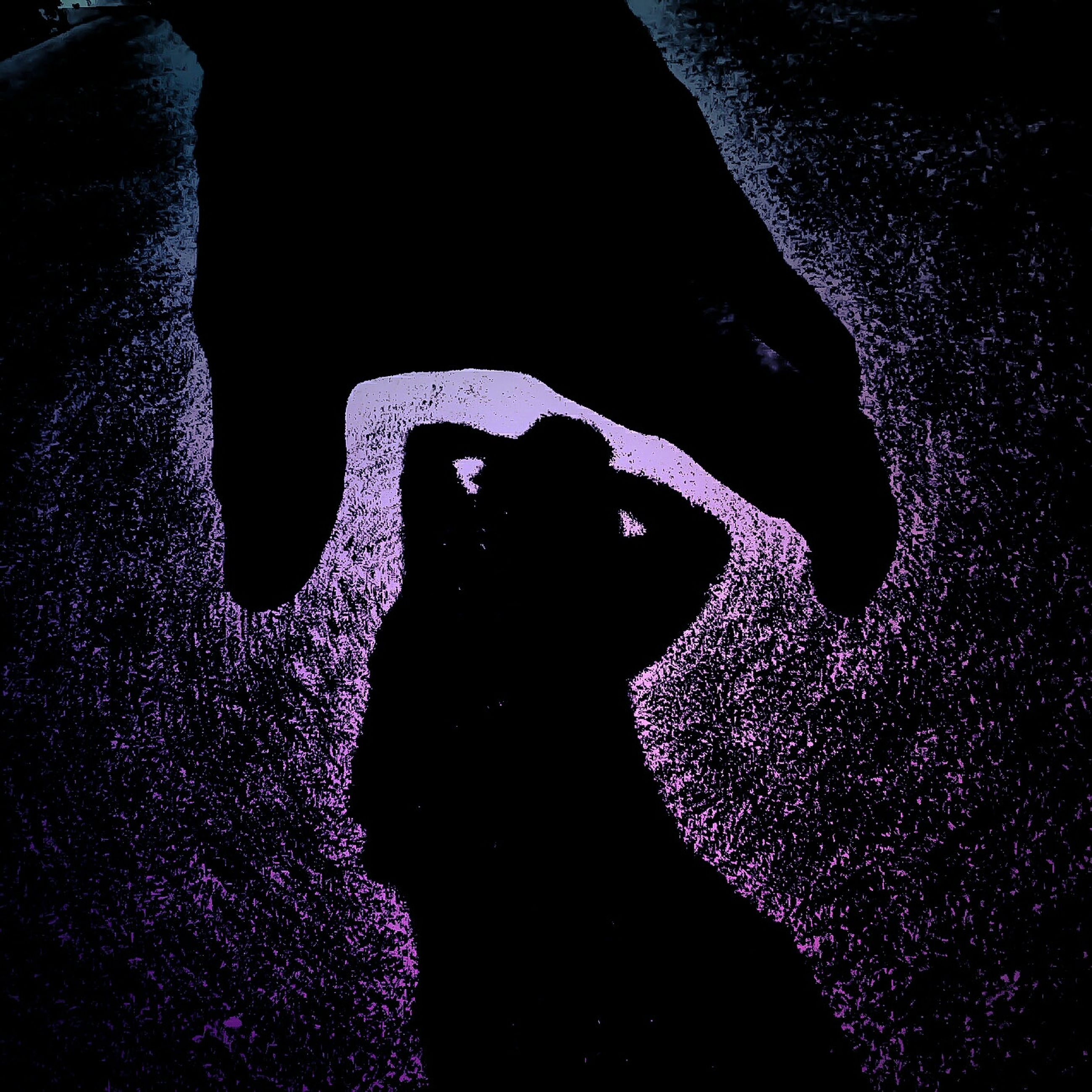 night, dark, close-up, unrecognizable person, silhouette, indoors, water, high angle view, blue, light - natural phenomenon, black background, black color, standing, men, purple, nature