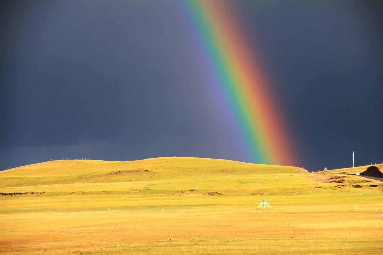 The brightest Rainbow I've ever seen, at Qinghai Lake Roadtrip