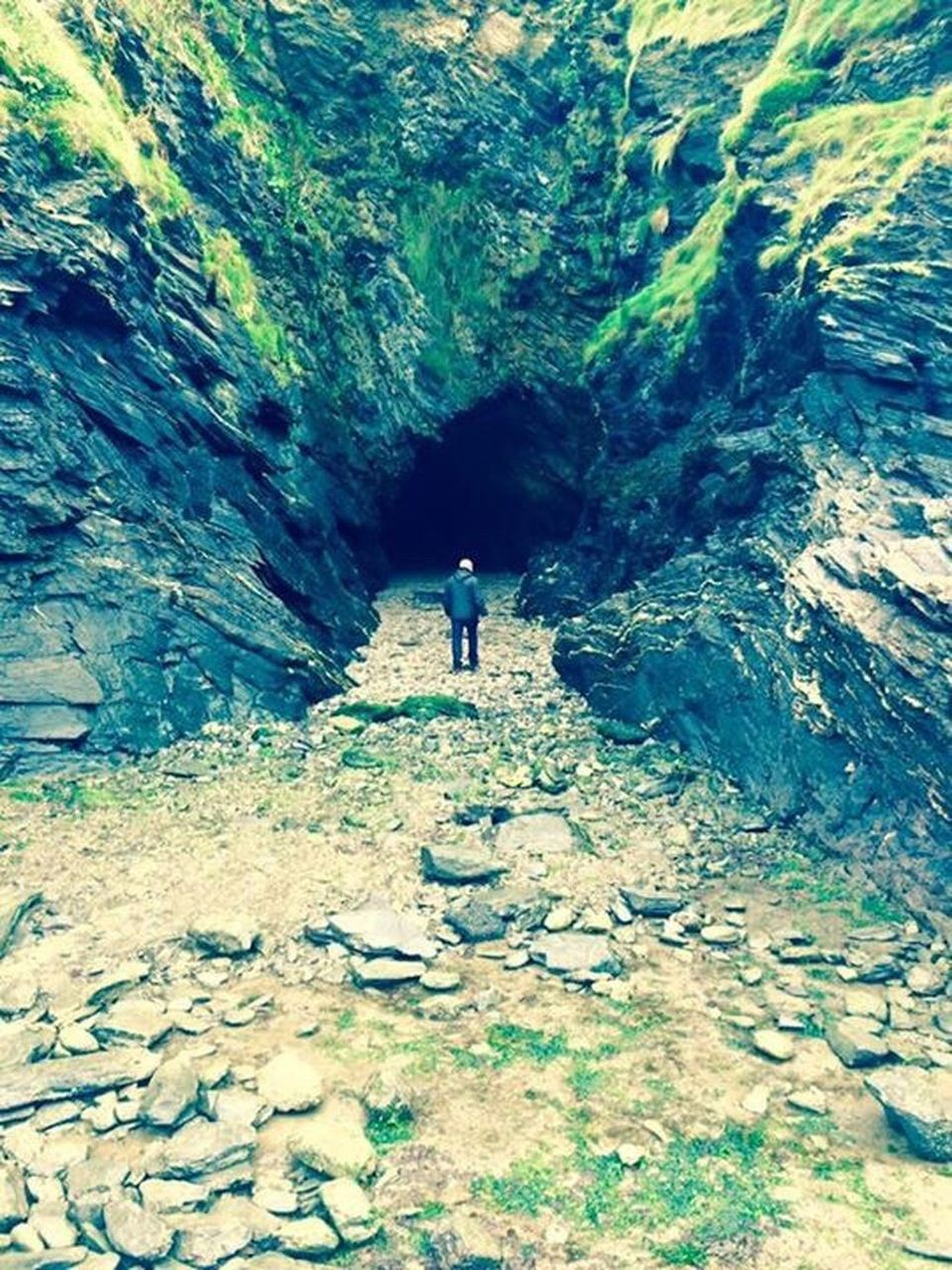 Man In A Cave Landscape_photography Cave Caverns Taken In Cornwall By The Sea